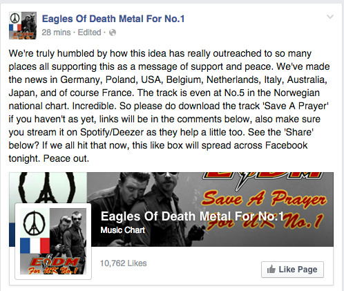 Eagles of Death Metal For No. 1 campaign on Facebook
