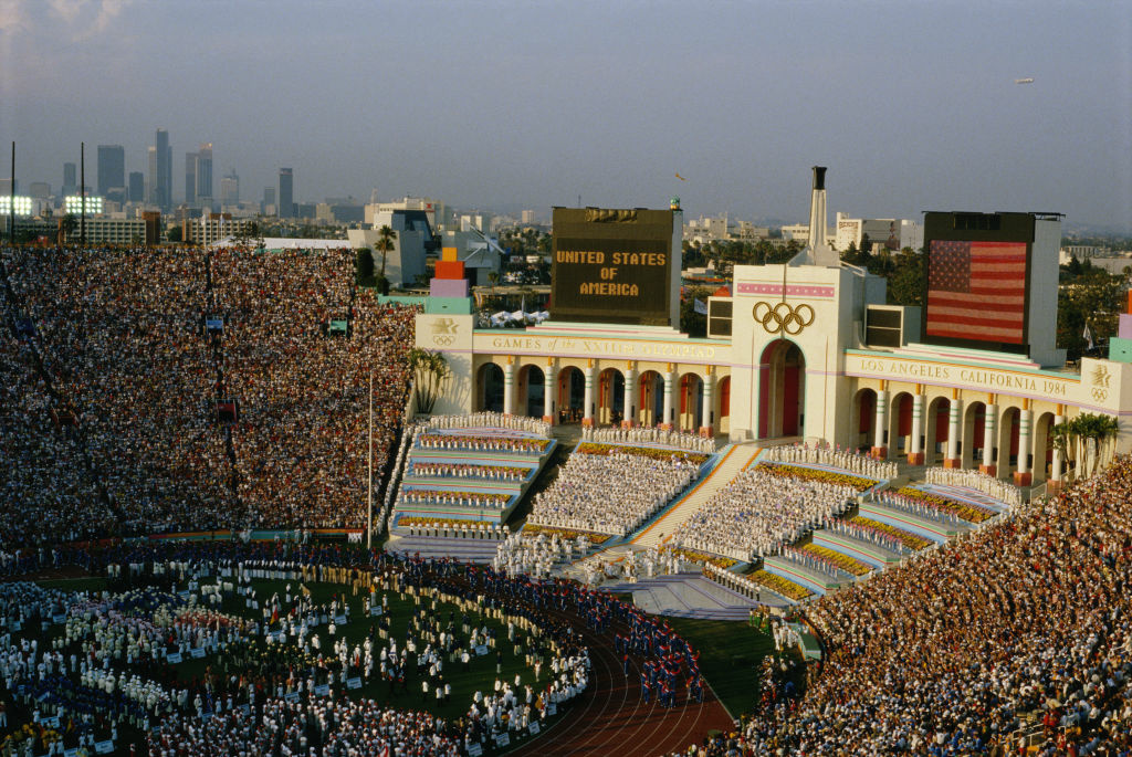 The opening ceremony at the 1984 Summer Olympics in Los Angeles.