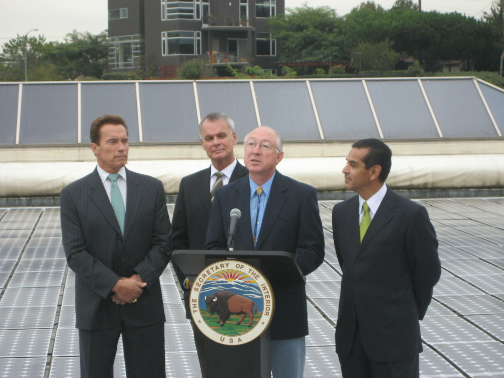 U.S. Secretary of the Interior Ken Salazar joins Governor Arnold Schwarzenegger, California Secretary for Natural Resources Mike Chrisman and Los Angeles Mayor Antonio Villaraigosa on a solar-paneled rooftop at Loyola Marymount University.