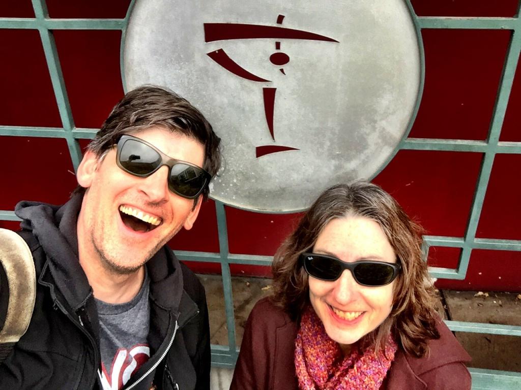 KPCC's John Rabe and crime writer Denise Hamilton outside the shuttered Formosa Cafe in West Hollywood.