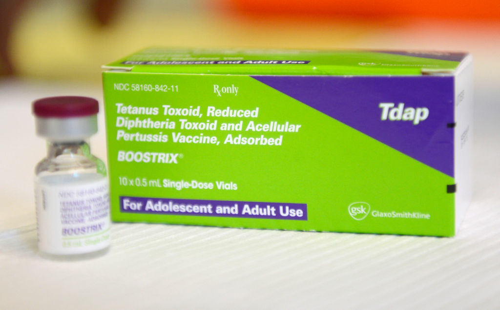 The whooping cough vaccine Boostrix is part of the state-required series of Tdap shots for all California seventh graders before they can start school. The state's