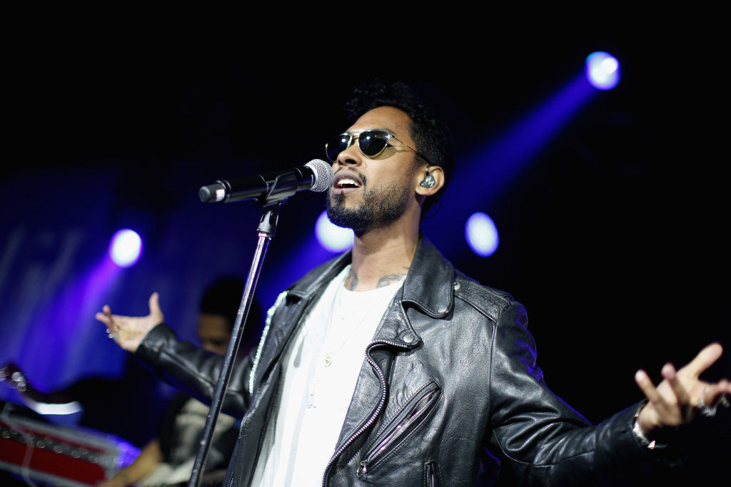 Singer Miguel performs onstage at the Samsung celebration of Milk Music and ADD52 in Brooklyn City.