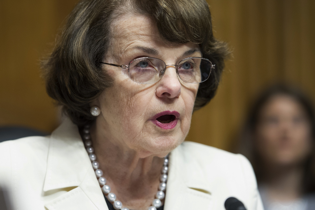 Senate Judiciary Committee Ranking Member Dianne Feinstein of Calif., makes a statement during a committee hearing on Capitol Hill in Washington, Wednesday, May 10, 2017. The California Democrat and oldest U.S. senator announced on Twitter Monday that she will seek re-election.