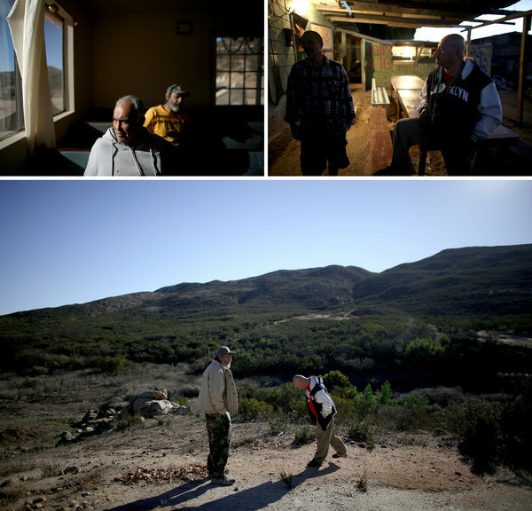At top left, Felix Alvarez, a U.S. Army vet, sits with his friend Augie Garcia, a U.S. Navy vet, at another rehabilitation center, in the hills outside of Tijuana. At top right, Hector Barajas chats with a vet who asked not to be named in the kitchen area of the facility run by Salazar. At bottom, Garcia (left) talks with Barajas in the countryside of Tijuana during one of Barajas' visits.