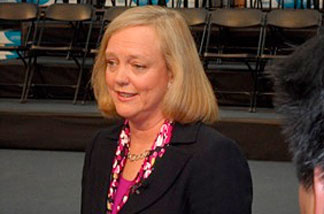 File photo: Meg Whitman at a news conference at a local business in San Diego.