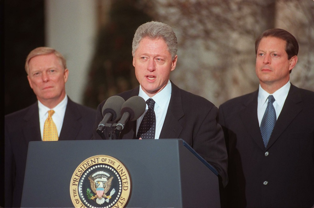 Then US President Bill Clinton addresses the nation on December 19, 1998 from the White House after the US House of Representatives impeached him on charges of perjury and obstruction of justice