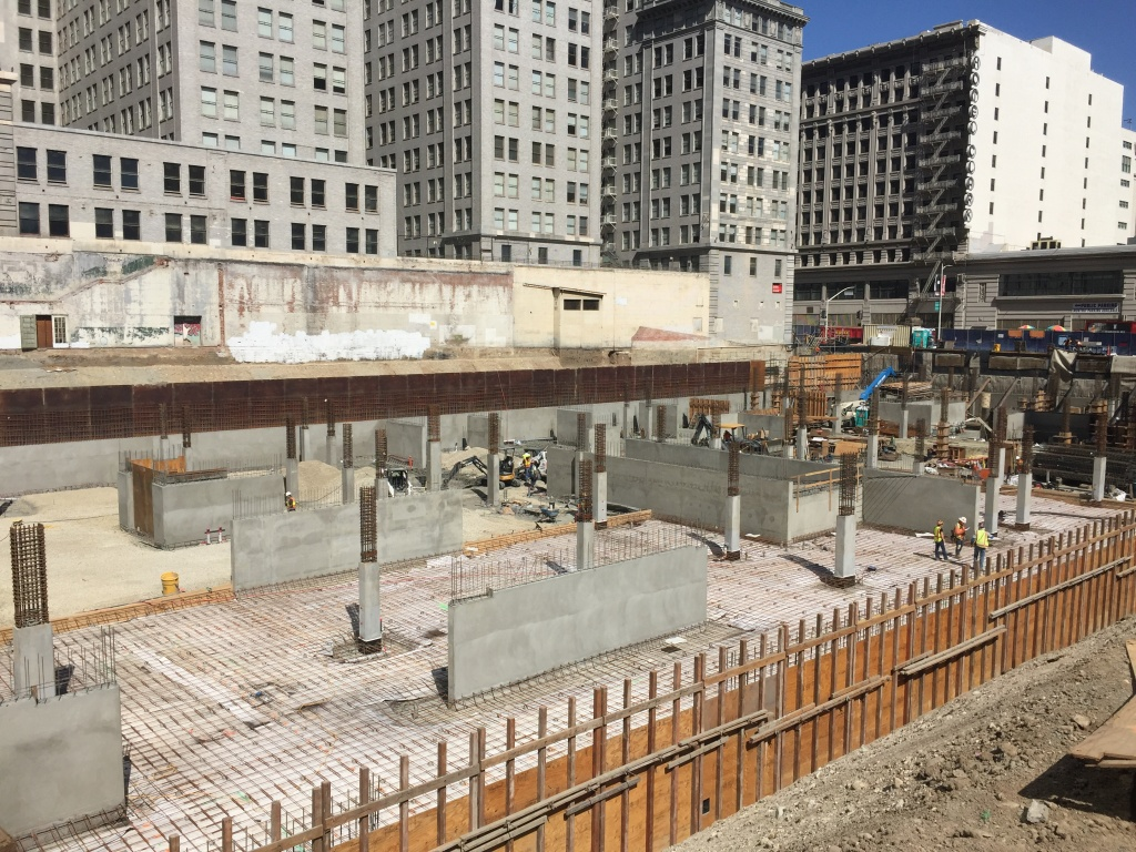 Construction sites like the future Park Fifth develop dot downtown Los Angeles.