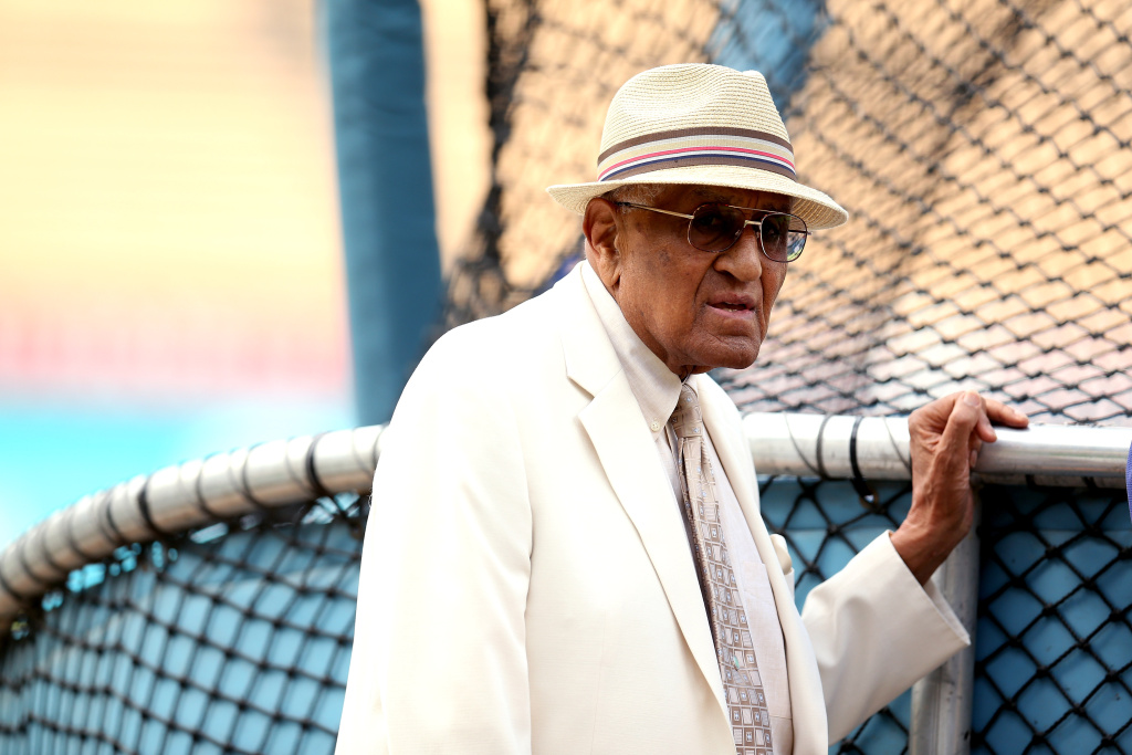 Former Dodgers pitcher Don Newcombe watches batting practrice before the game between the Los Angeles Dodgers and the Arizona Diamondbacks on August 30, 2012 at Dodger Stadium in Los Angeles, California.