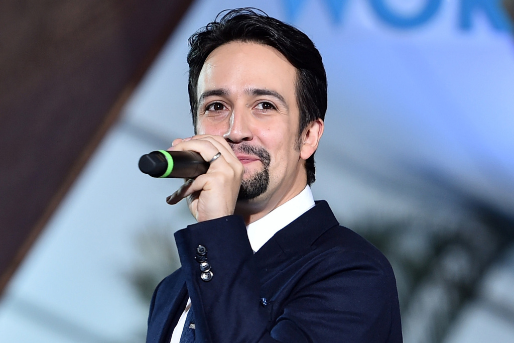Songwriter Lin-Manuel Miranda speaks onstage at The World Premiere of Disney's