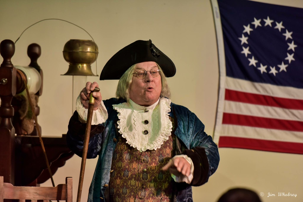 An actor dressed as Benjamin Franklin for the International Printing Museum's Electric Birthday Celebration.