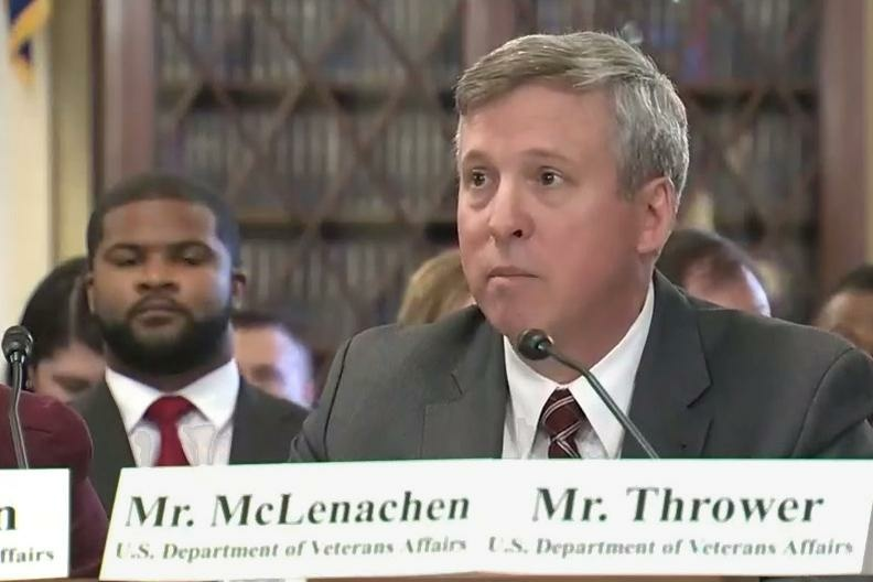 Dave McLenachen, the director of the VA's Appeals Management Office, testifies at a December Congressional hearing on wait times for veterans' benefit appeals.