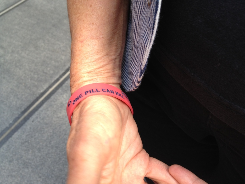 April Rovero of San Ramon in Northern California wears a rubber bracelet that reminds her of son, 21-year old Joseph Rovero who died in 2009 of prescription drug overdose.