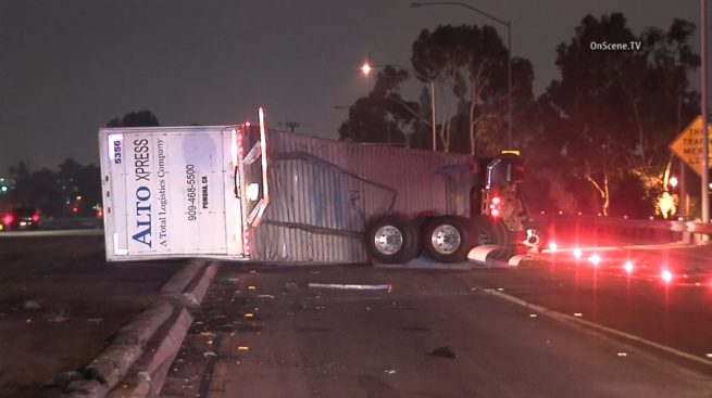 The CHP says a truck driver suffered minor injuries in a single-vehicle crash early Thursday on the collector road from westbound Interstate 10 to Interstate 110.