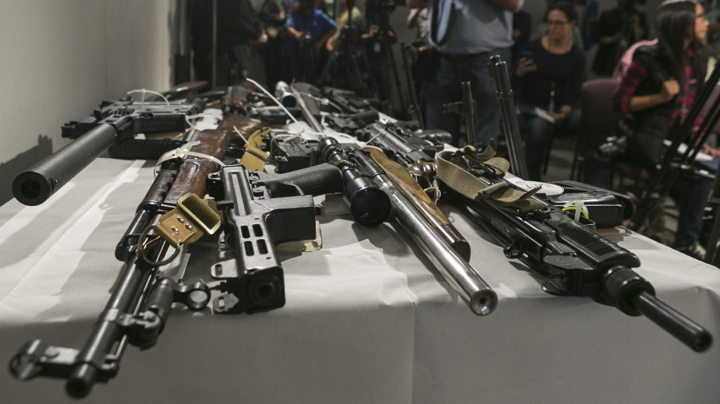 Firearms seized during a sweep by the Los Angeles Police Department using the California's Armed Prohibited Persons System initiative.