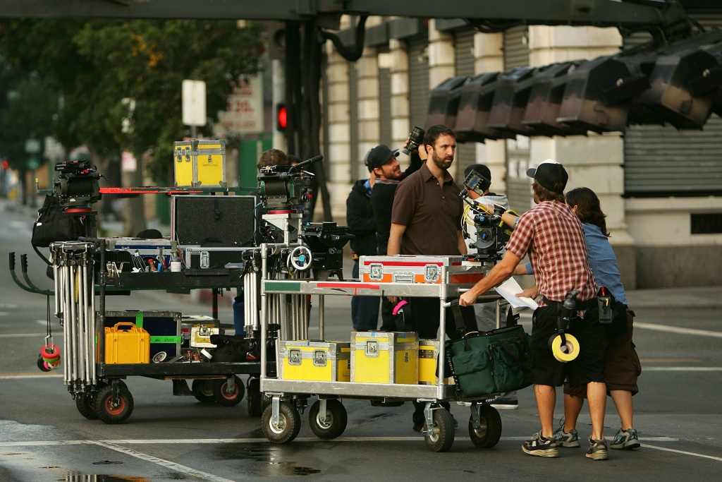 A crew sets up cameras for the filming a mobile phone commercial on-location on November 18, 2006 in Los Angeles, California.