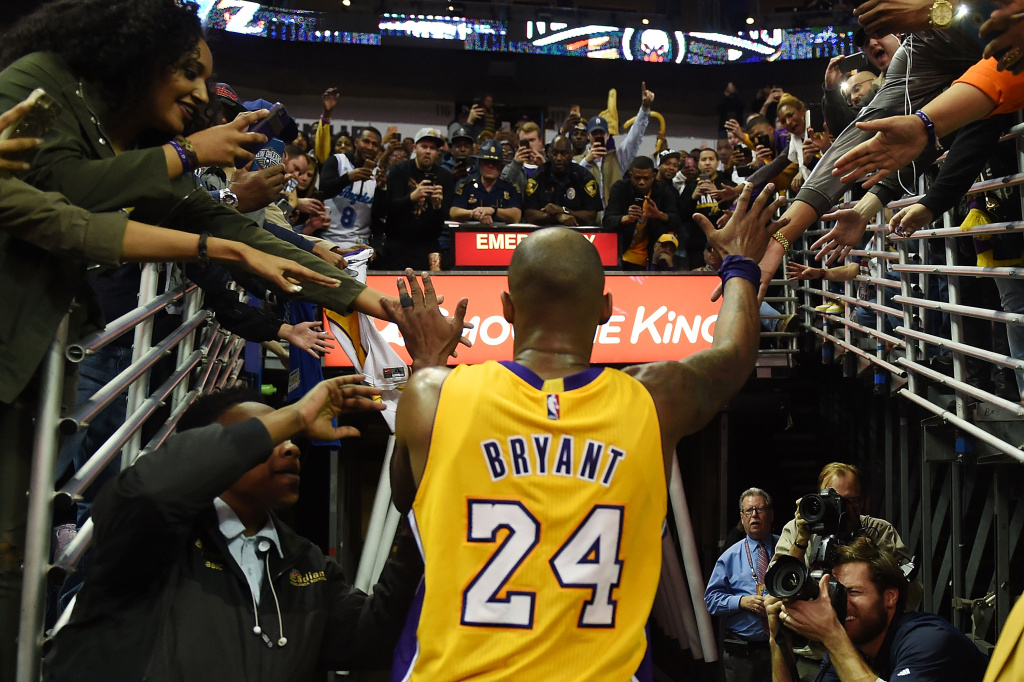 Kobe Bryant #24 of the Los Angeles Lakers leaves the court following a game against the New Orleans Pelicans at the Smoothie King Center on February 4, 2016 in New Orleans, Louisiana.