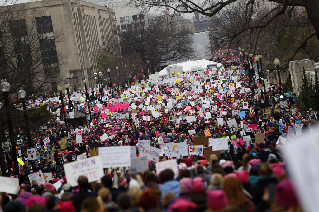 Protesters gather during the Women's March on Washington January 21, 2017 in Washington, DC.