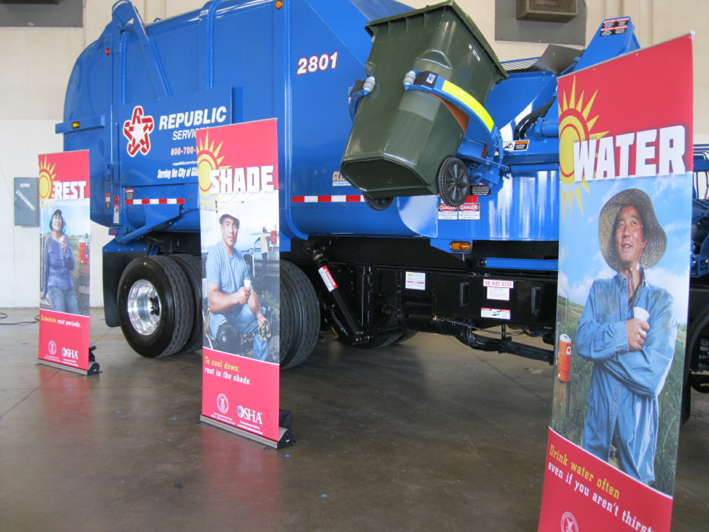 Posters are part of the new national campaign to bring awareness to heat-related health problems in the workplace. The campaign kicked off at a recycling center in Anaheim.