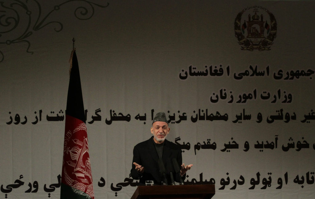 Afghan President Hamid Karzai said in a nationally televised speech on Sunday that the U.S. and the Taliban are holding talks.