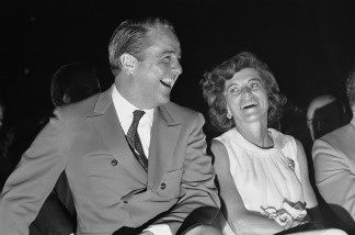Sargent Shriver and his wife Eunice Kennedy Shriver share a laugh in this 1968 file photo.