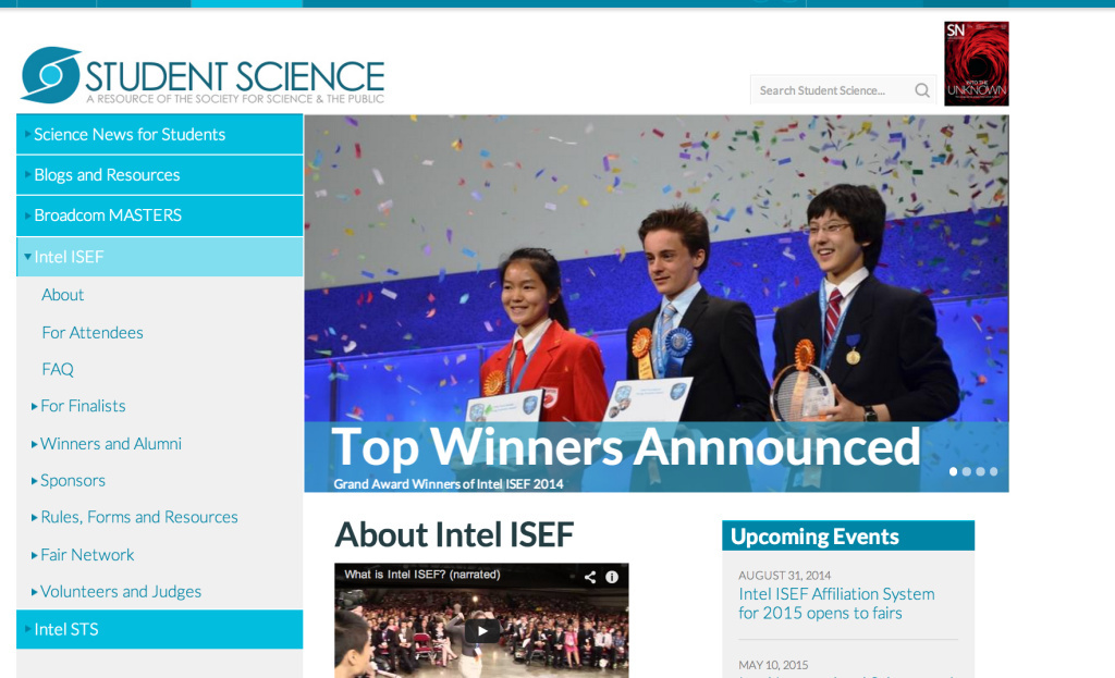 Screenshot of the Intel Student Science Web page