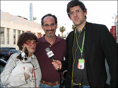 Ruth Price, owner of The Jazz Bakery; Scott Malsin, mayor of Culver City; and KPCC's John Rabe. The dog is Pork Chop, a rescue from Taiwan who is deaf, and so, alas, can't hear jazz.