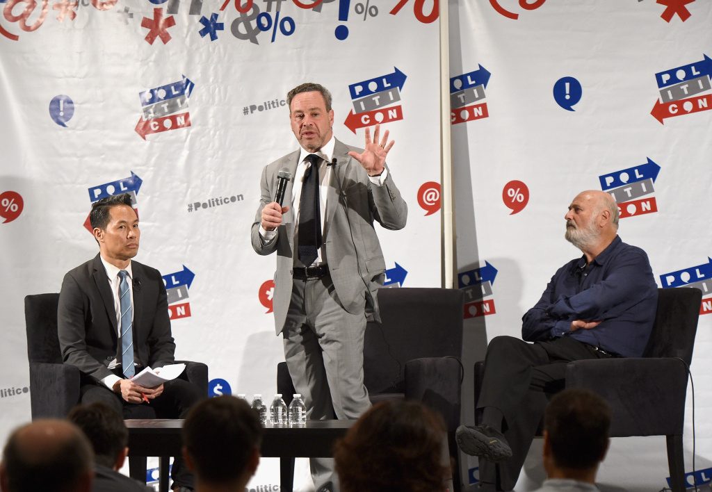 Richard Lui, David Frum, and Rob Reiner at 'Russia's Attack on our Democracy' panel during Politicon at Pasadena Convention Center on July 29, 2017 in Pasadena, California.
