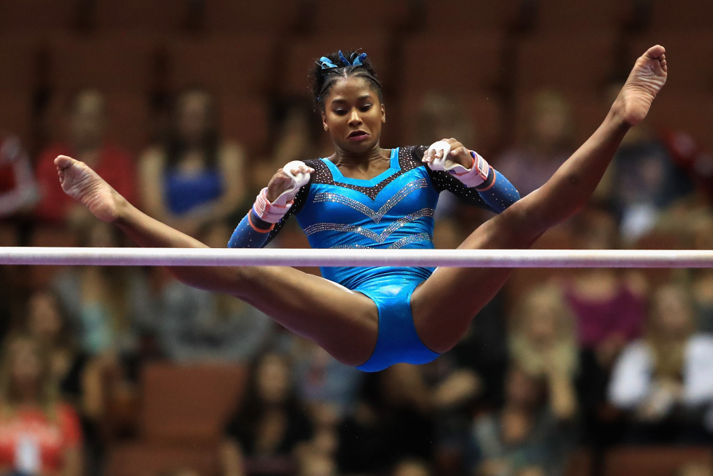 ANAHEIM, CA - AUGUST 18:  Jordan Chiles competes on the Uneven Bars during the P&G Gymnastics Championships at Honda Center on August 18, 2017 in Anaheim, California.  (Photo by Sean M. Haffey/Getty Images)