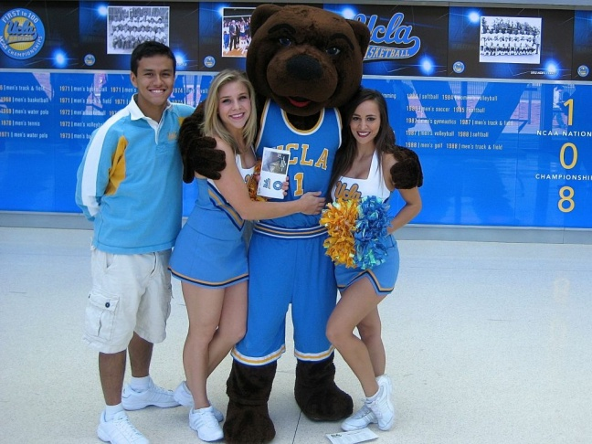 Students and alumni (and the Bruin mascot) came to see the remodeled Pauley Pavilion on Tuesday. Photo credit: Ben Bergman/KPCC