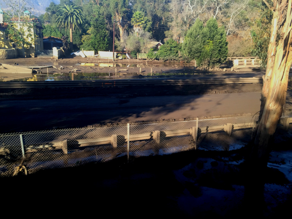 A view of the mud-swamped 101 freeway in Montecito, California on Friday, Jan. 12, 2018.