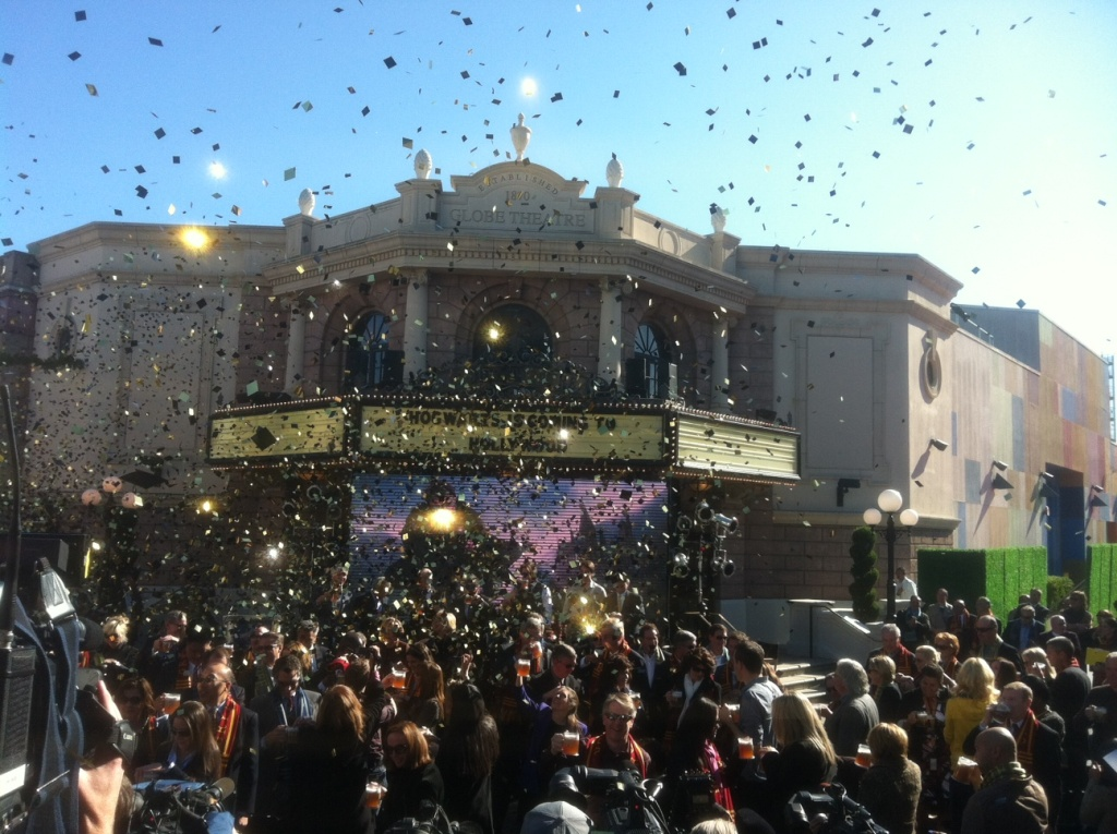 Gold confetti sprays into the air at Universal Studios Hollywood.