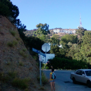 A hiker at the corner of Durand Dr. at Griffith Park.
