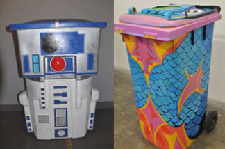Global Inheritance has gathered a collection of artists to decorate recycling bins which are then taken to the Coachella Music Festival.