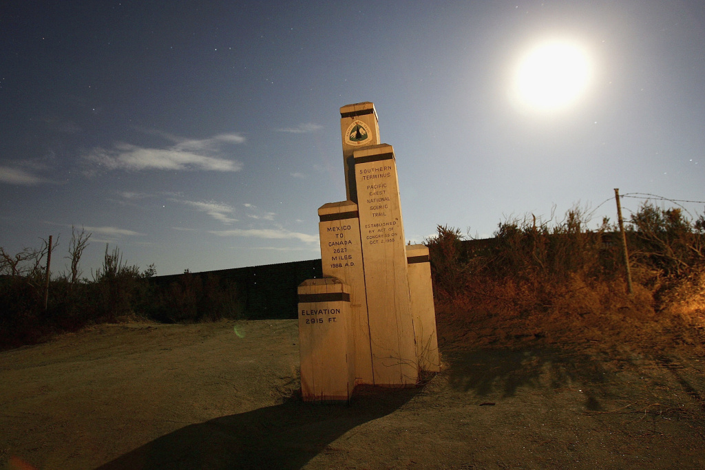 A monument marks the southern terminus of the Pacific Crest Trail, which stretches from Canada to Mexico.