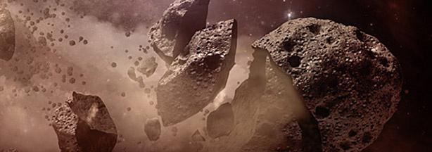 Artist's rendering of an asteroid breaking up.