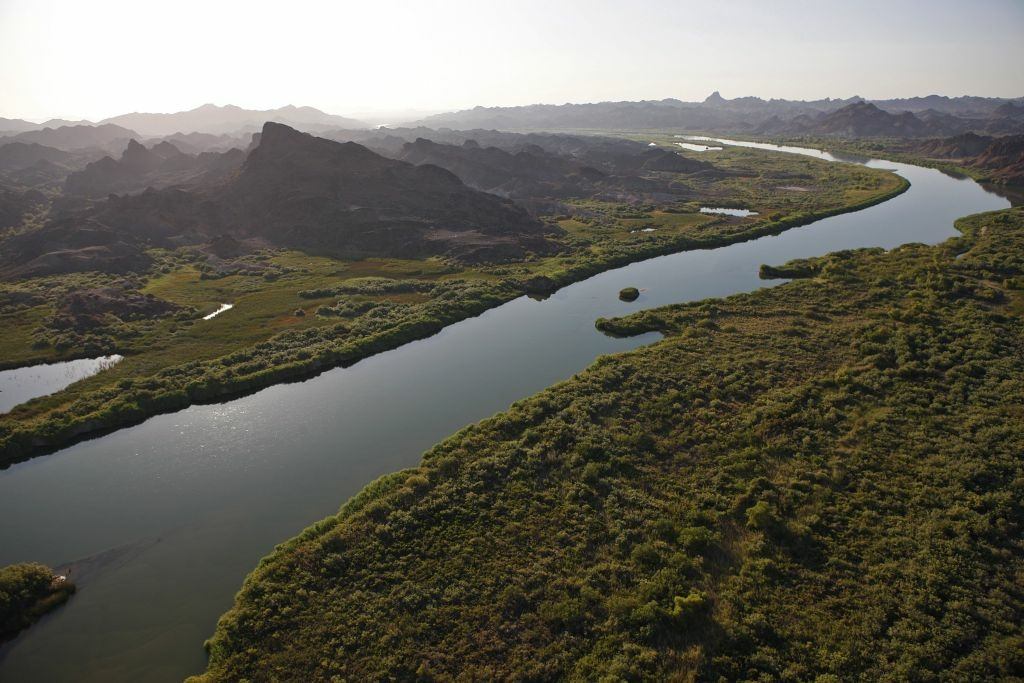 Aerial views of the Colorado River, Imperial Valley, 6 August 2009.