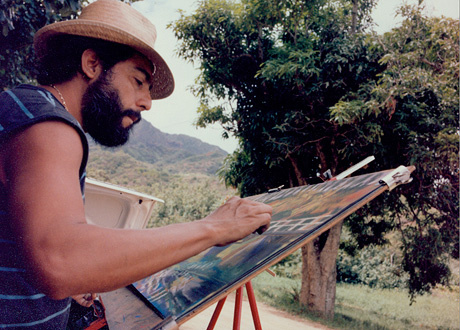 Color photograph of Carlos Almaraz, mid 1980s.