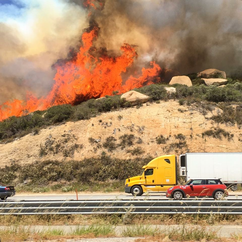 A view of the Temecula Fire taken near the Border Patrol Check Point on Saturday, June 4, 2016.