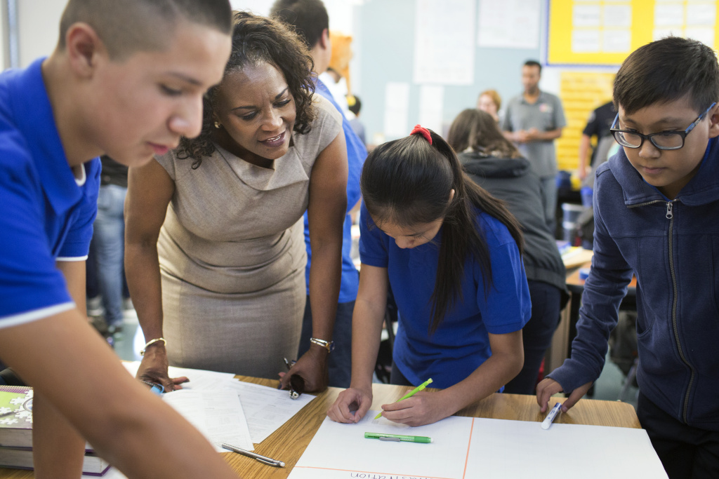 LAUSD Superintendent Michelle King visits an eighth grade accelerated math class at Luther Burbank Middle School on Tuesday, Aug. 16, 2016 during the first day of instruction.