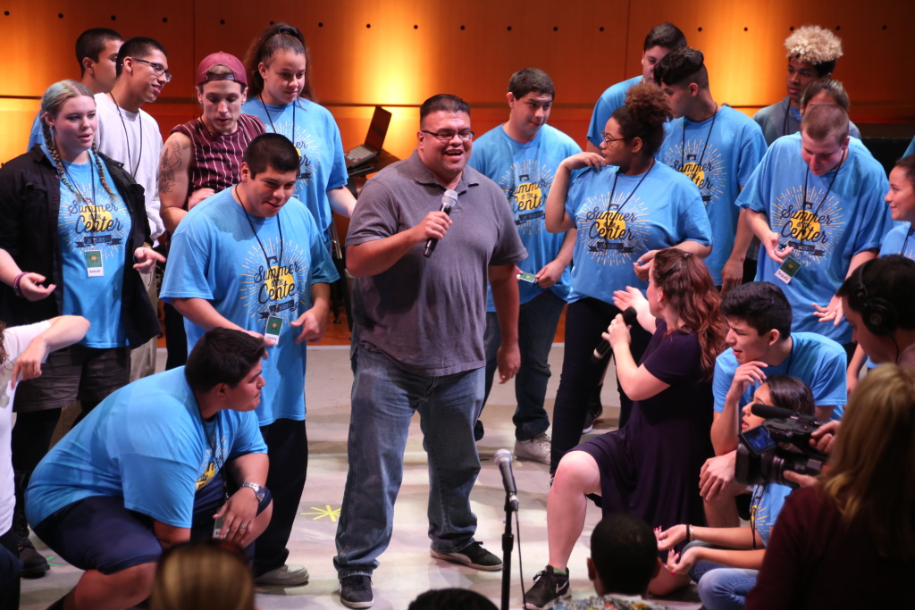Luis Castillo, center, participated in the Segerstrom Center's Summer at the Center program for at-risk youth in one of its first years. He'll sing on-stage during the 25th anniversary performance on Saturday, July 30.