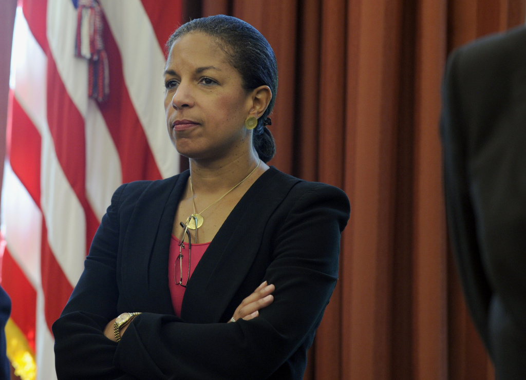 National Security Adviser Susan Rice attends a meeting with President Barack Obama and Uruguay's President Jose Mujica in the Oval Office of the White House in Washington, Monday, May 12, 2014.