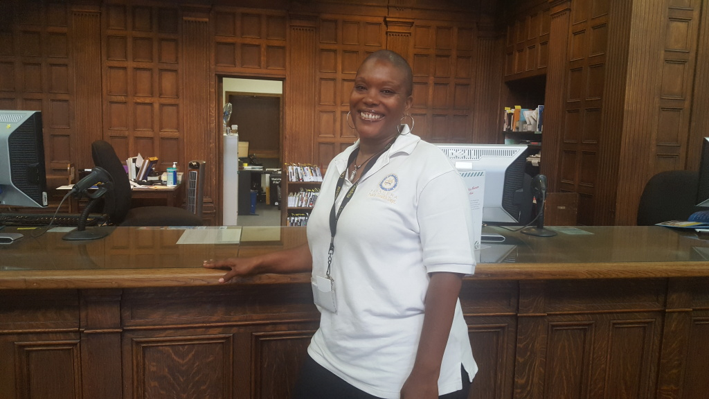 Precious Jackson is the new case manager at Pasadena Public Library. As the numbers of the homeless have grown, she was hired to help them with services at the central library's location.