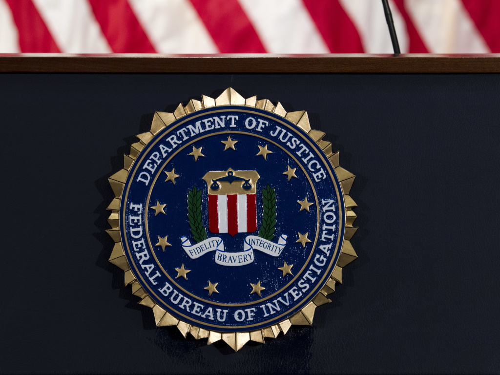The FBI seal photographed in 2018. On Tuesday, federal prosecutors arrested and charged a 20-year-old woman in Georgia with conspiring to provide material support to ISIS, which carries a maximum prison sentence of 20 years.