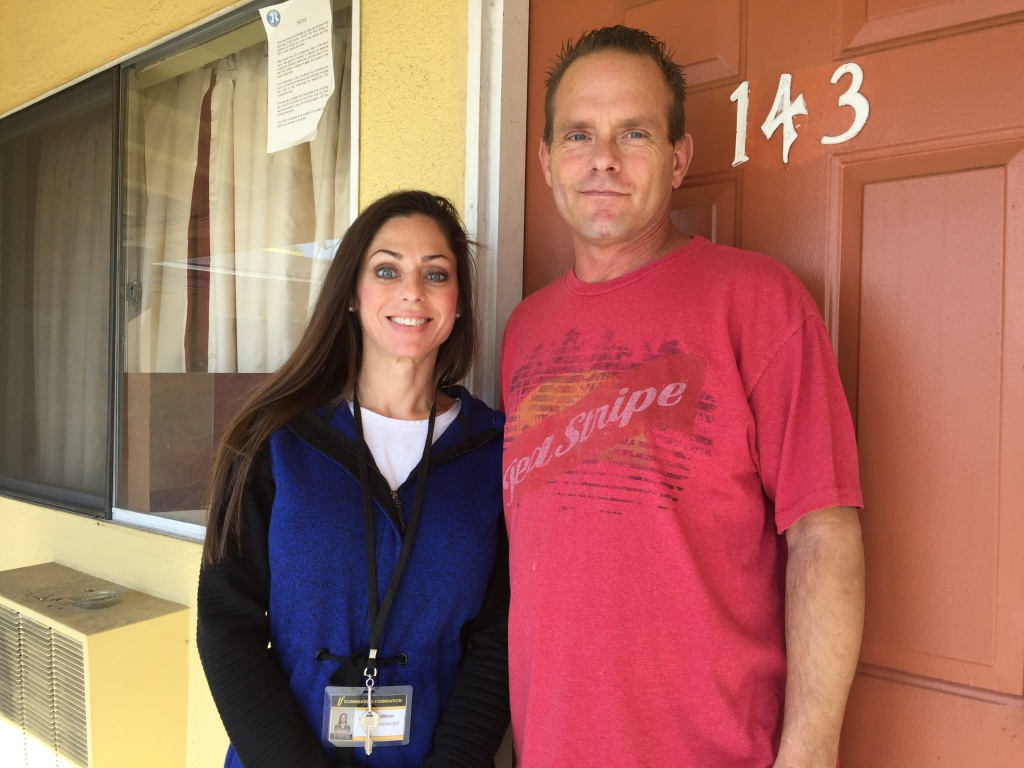 Illumination Foundation staff member Gillian Elson helped client Jerry Scobee, 47, during his two-week stay at the non-profit's recuperative care center in Orange County and helped him find temporary housing.