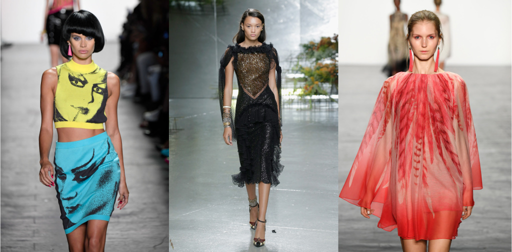 Models at New York Fashion Week for Spring 2017 showing clothes by Southern California designers (L-R) Jeremy Scott, Rodarte and Tadashi Shoji.