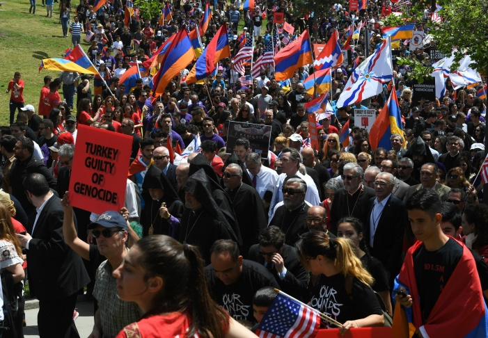 Demonstrators protest outside the Turkish Consulate during a march and rally commemorating the 103rd anniversary of the Armenian genocide on April 24, 2018 in Los Angeles, California. Thousands of demonstrators, many of whom are Armenian-Americans, attended the rally. Los Angeles holds the largest number of Armenians in the world outside of Armenia.