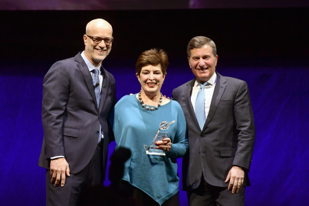 (L-R) Nato President & CEO John Fithian, SVP & Chairman of CARA for the MPAA Joan Graves, and MPAA Chairman & CEO Charles Rivkin pose onstage at CinemaCon 2019
