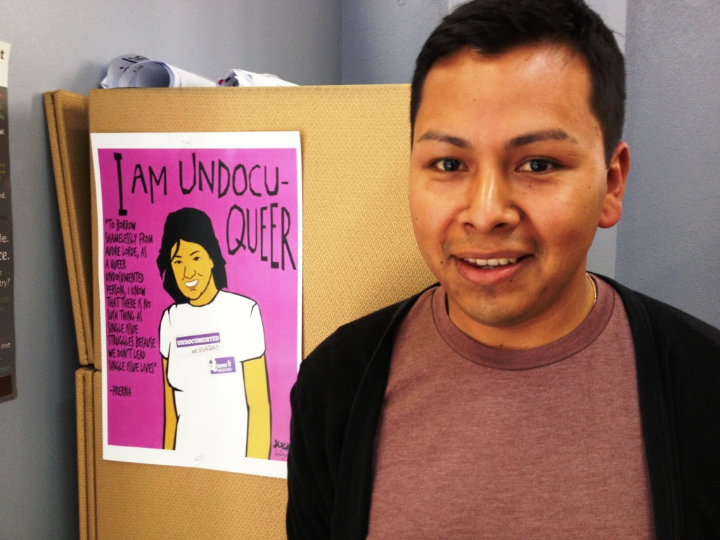 28-year old Jorge Gutierrez is 28, lives in LA, and is an activist with United We Dream. He says it was easier to come out as gay to his family than to come out as undocumented to his school. He attended anti-Prop 8 rallies in Washington DC when the Supreme Court took up the case.