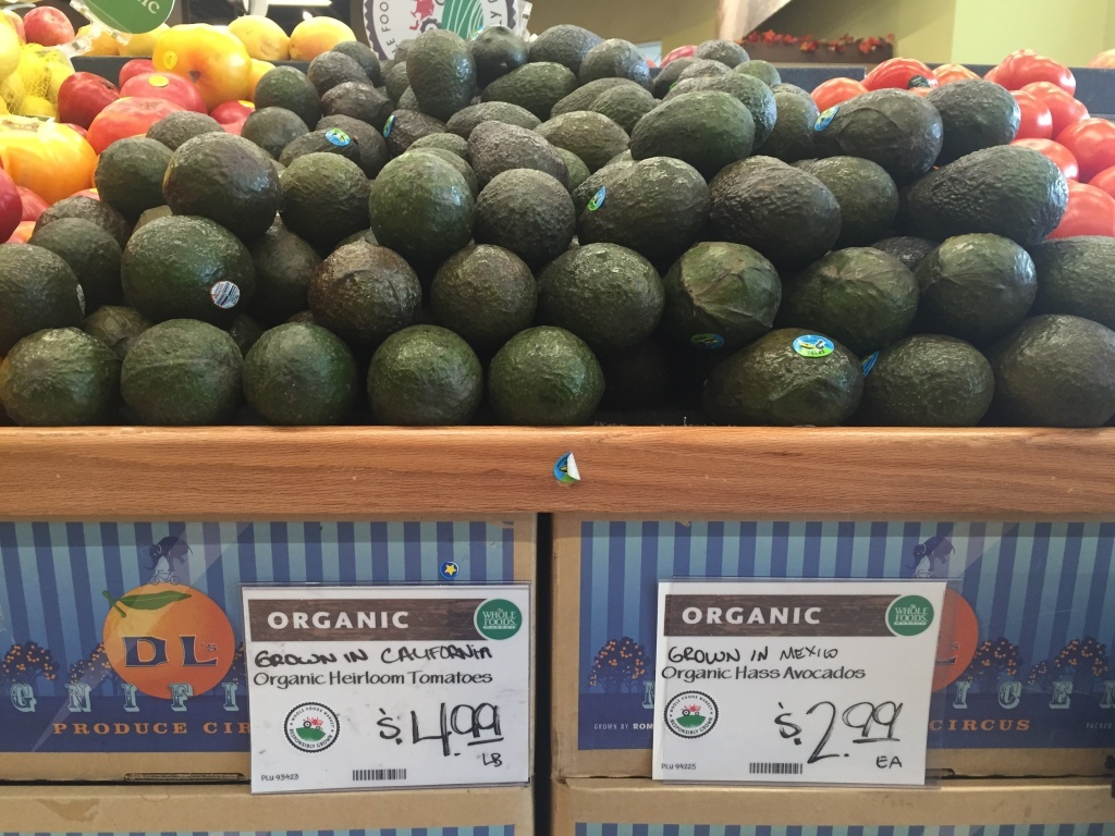 The price of avocados at Whole Foods on November 2, 2016 reflects the current avocado shortage.