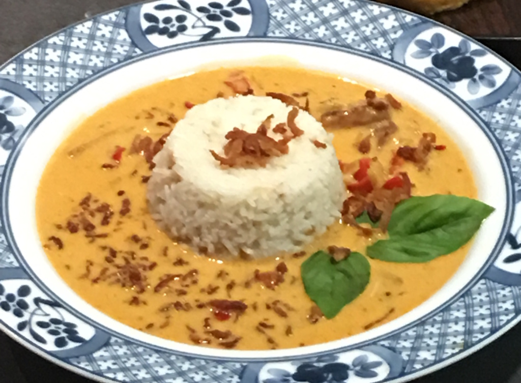 A Spam coconut curry dish, called Sir Can-A-Lot, created by Peggy Linberg, winner of the 2016 Spam cooking contest at the OC Fair.